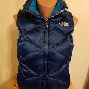 Preowned women North Face blue vest sz S
